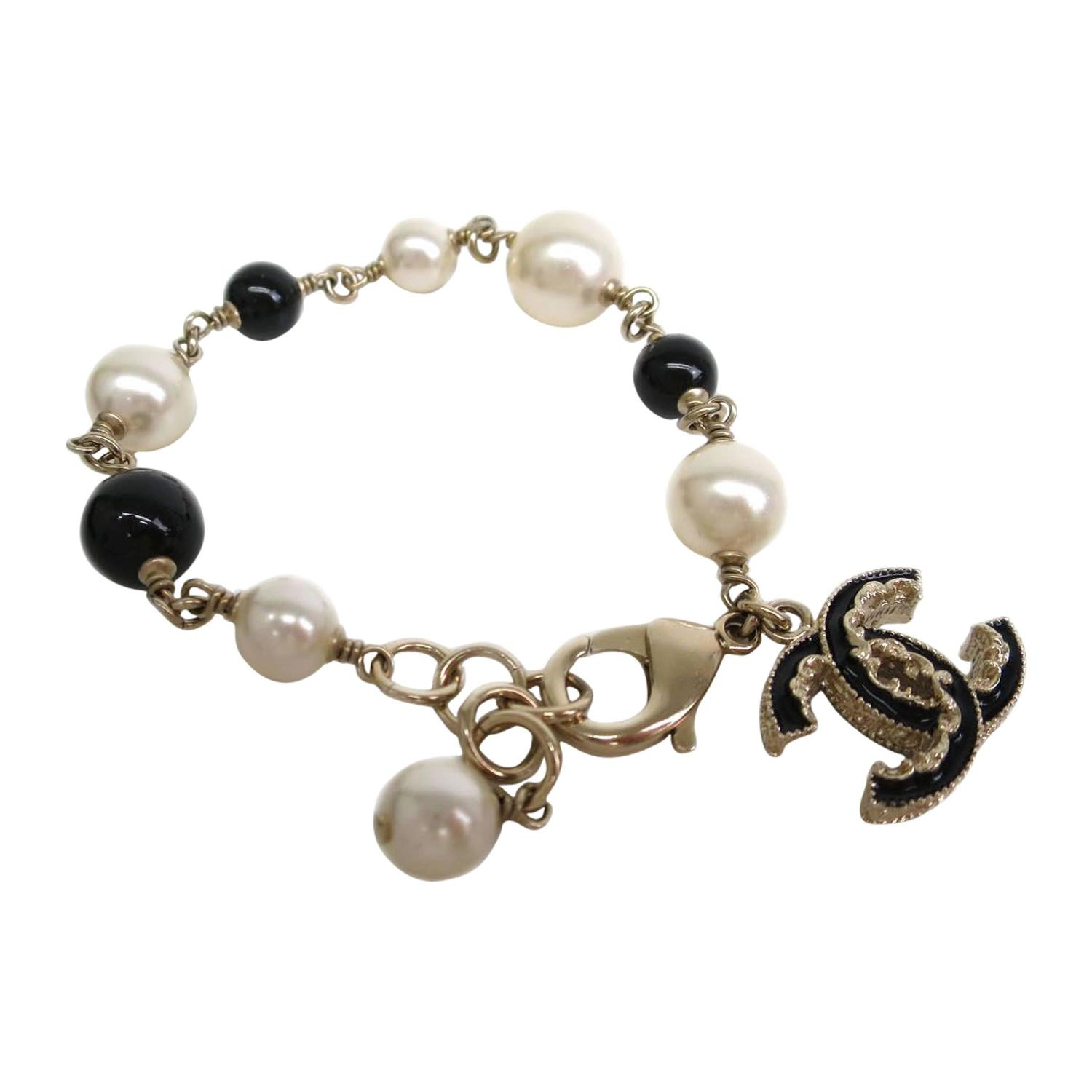 chanel gold pearl bead cc charm chain bracelet at 1stdibs