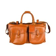 GHURKA -Express No. 2- Tan Leather Flap Pockets Weekender Travel Bag