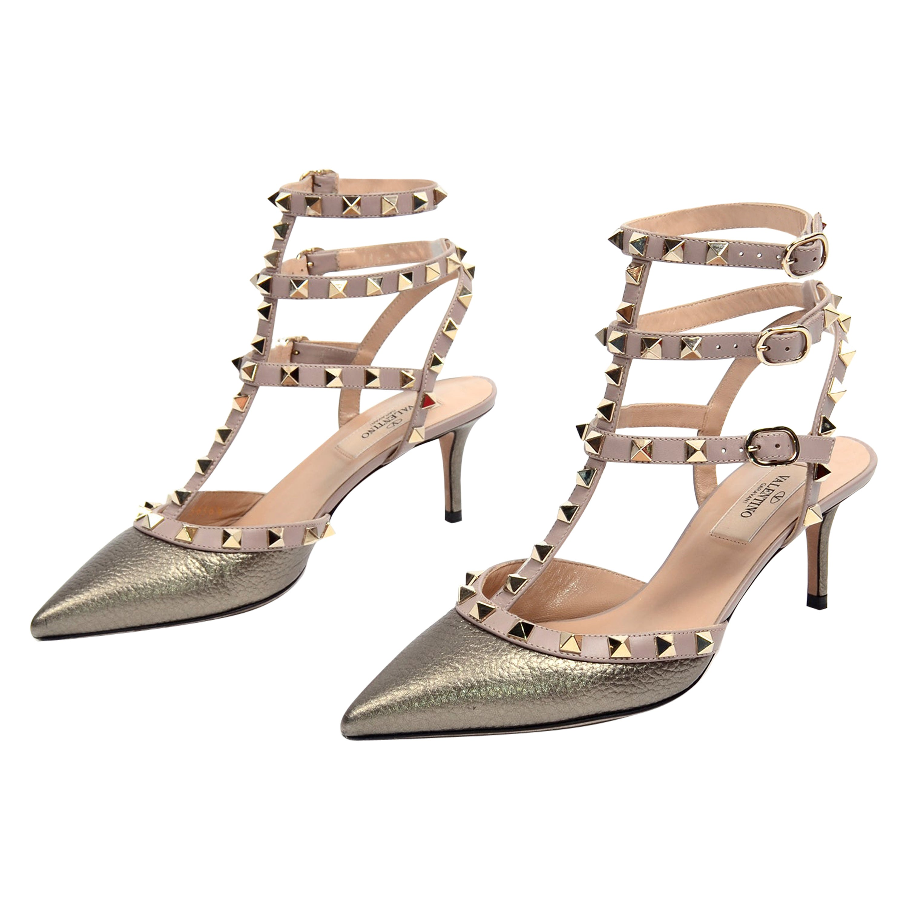 Valentino Rockstud Metallic Gold Cage Ankle Strap Low Heel Shoes