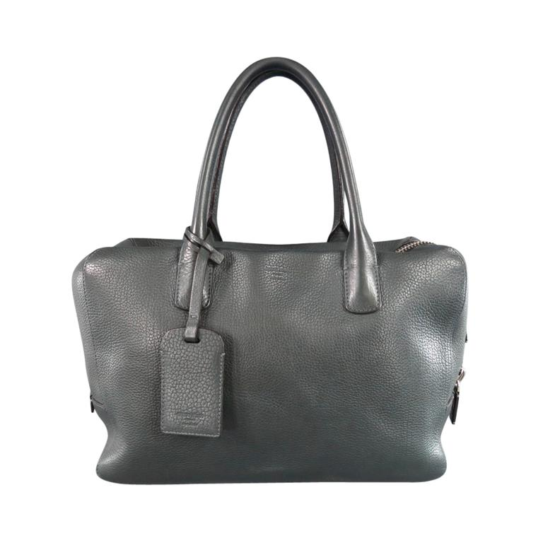 c391ea468283 GIORGIO ARMANI Green Leather Top Handles Silver Zip Carry On Bag For Sale