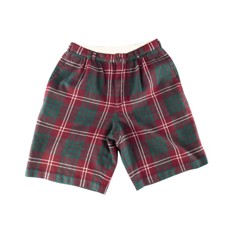 COMME des GARCONS Size 30 Burgundy Green & White Plaid Wool Flannel Shorts 1