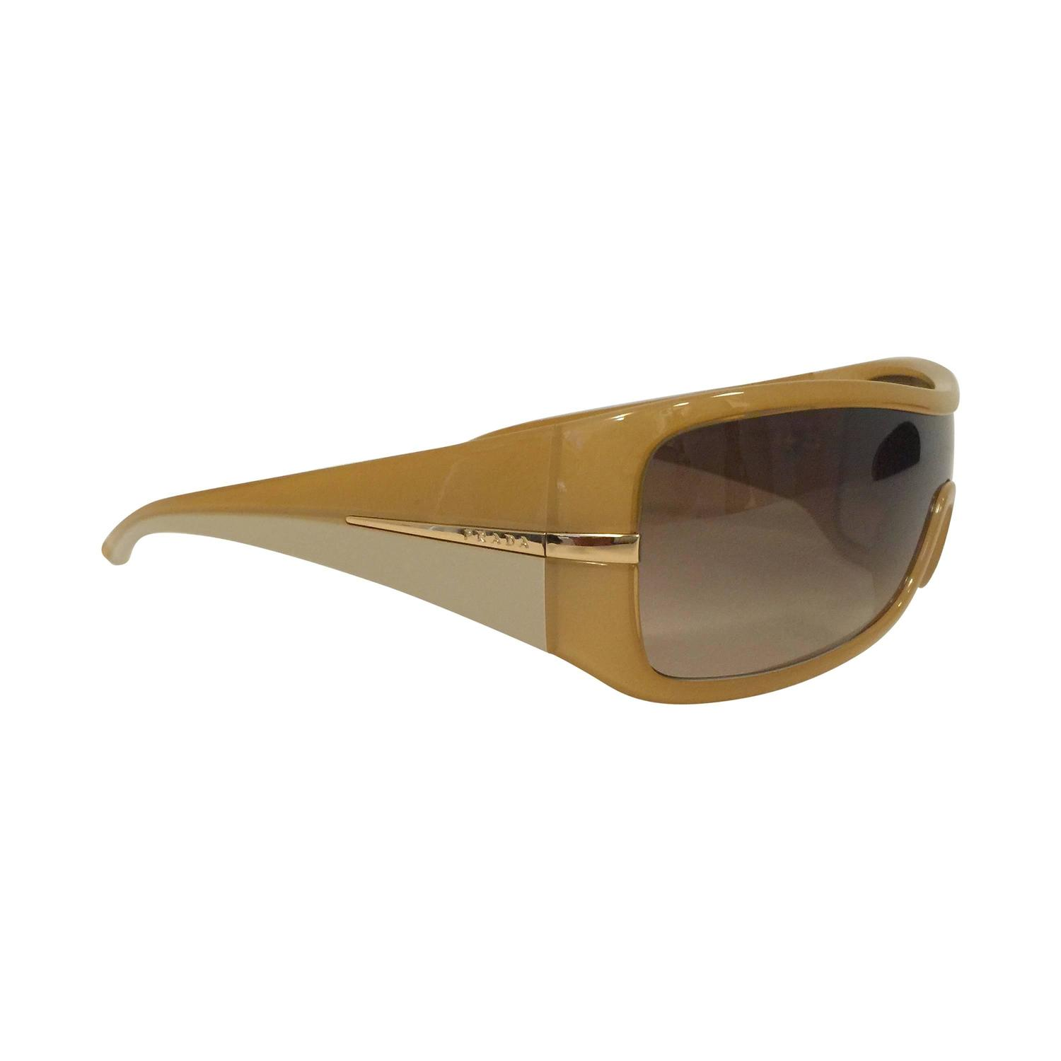 Prada Yellow Sunglasses  new prada spr 02h sunglasses in camel at 1stdibs