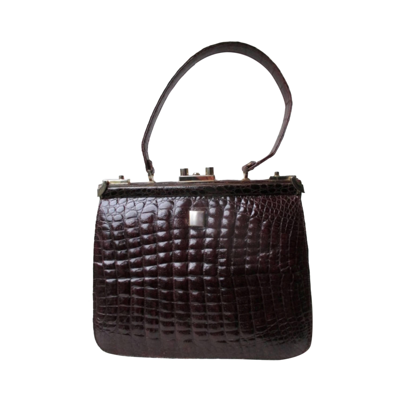 elegant crocodile leather frame box bag