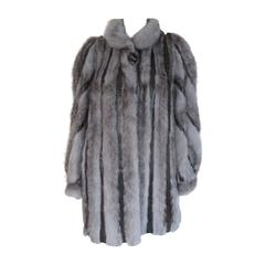 Blue grey cross mink fur coat with printed snake skin leather
