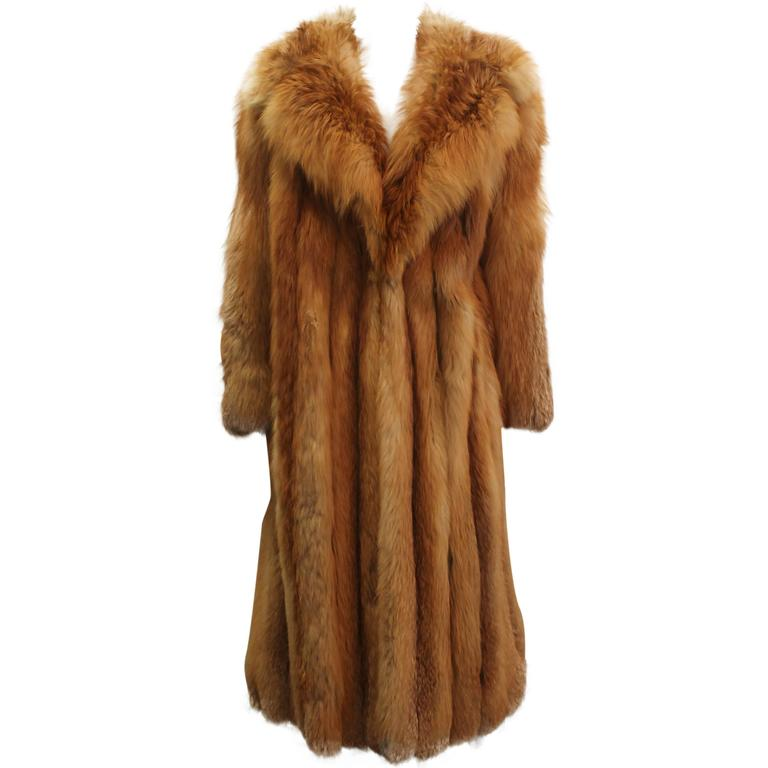 Custom Full Length Golden Fox Fur Coat - M/L For Sale