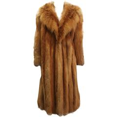 Custom Full Length Golden Fox Fur Coat - M/L