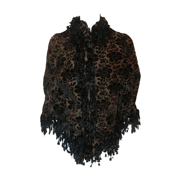 1890's Victorian Black & Brown Floral Cut Velvet with Fringe Jacket - S/M For Sale