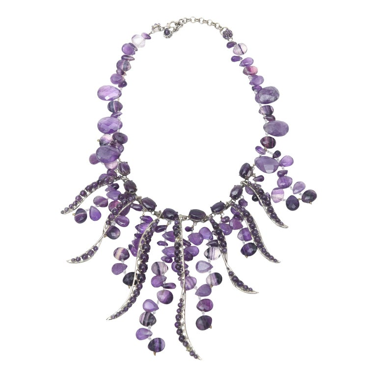 Signed Siman Tu One of a Kind Amethyst & Silver Bib Necklace/  FINALE SALE For Sale