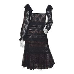 Giorgio Sant Angelo 1970s Layered Lace Dress