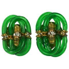 Archimede Seguso for Chanel Emerald Glass Earclips