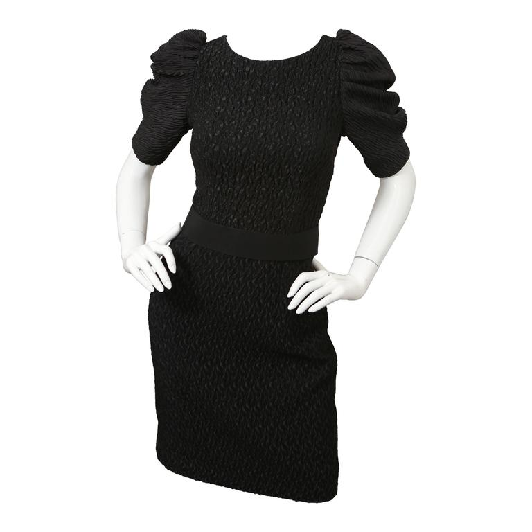 Dolce & Gabbana Puff-Sleeved Black Textured Dress with Attached Belt For Sale
