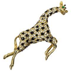Signed Hattie Carnegie Enamel CZ Giraffe Figural Brooch Pin