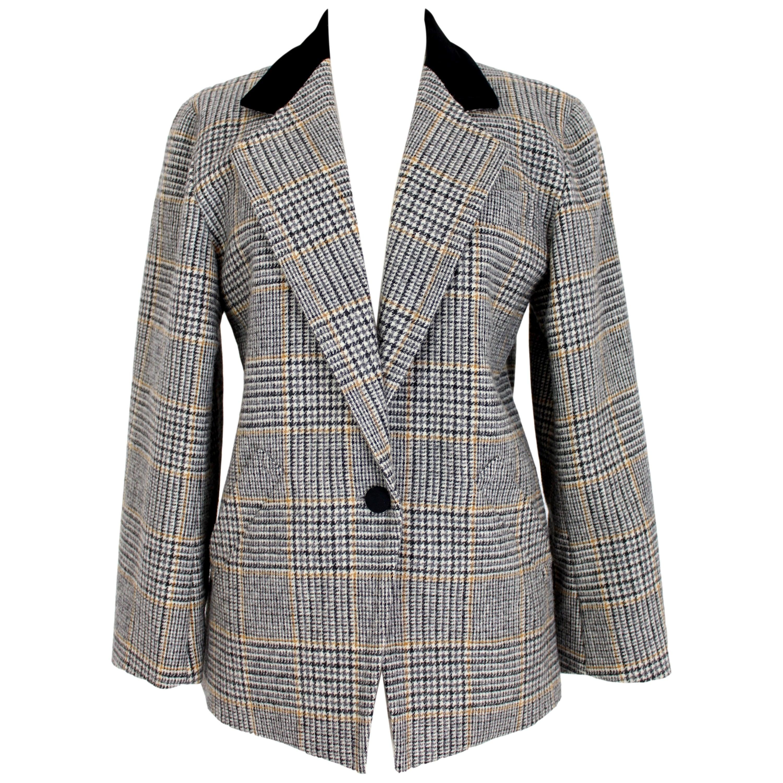 Guy Laroche Black Beige Wool Check Blazer Jacket 1980s