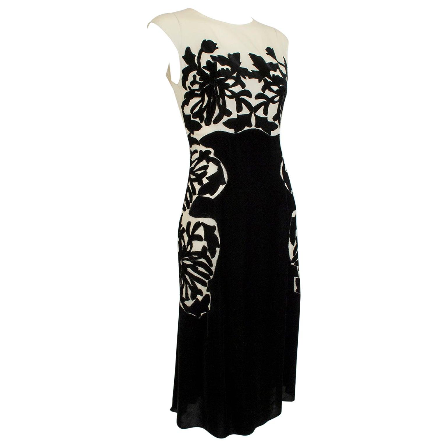 New Bottega Veneta Black Silk Velvet Branch Coral Illusion Runway Dress – It. 38