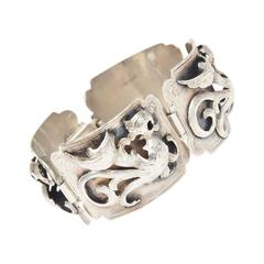 Signed Dimensional / Textural Sterling Silver Argentinian Bracelet
