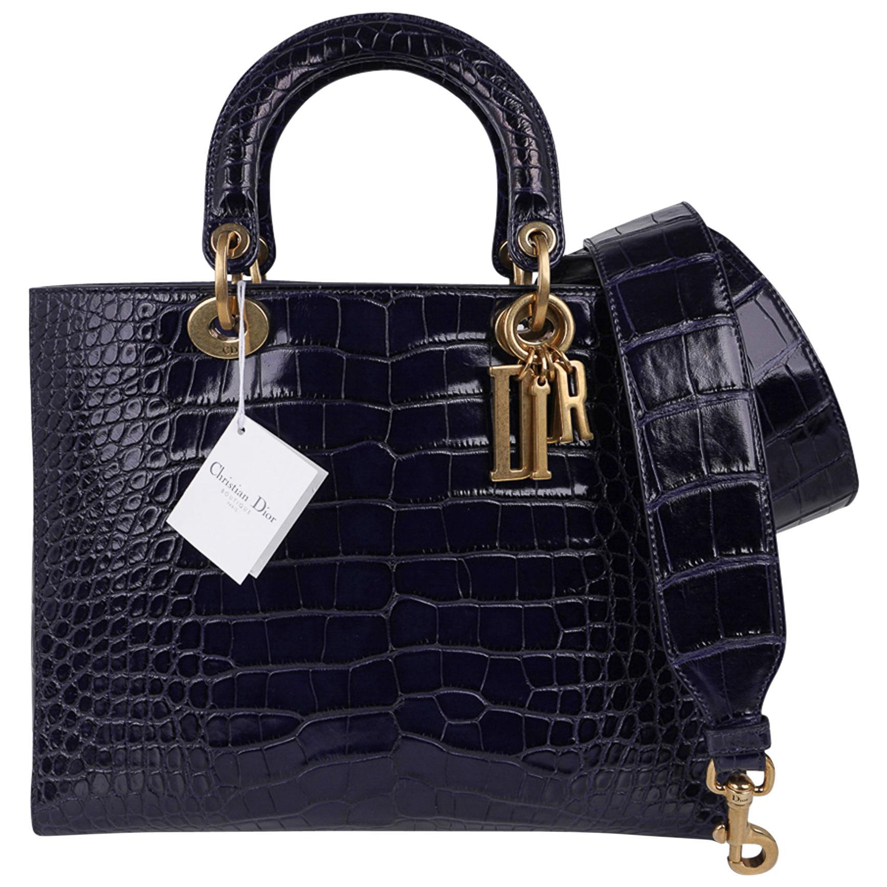 Christian Dior Bag Lady Dior Large Navy Matte Navy Alligator New w/Tag
