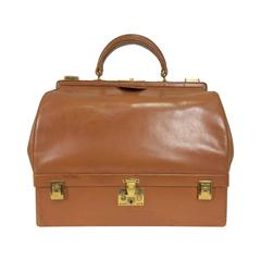 Rare Hermes 1950s Sac Mallette in glazed box calf saddle tan leather