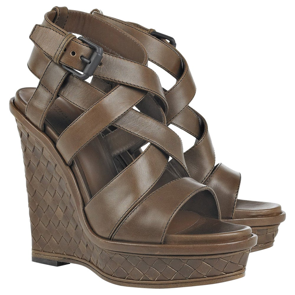 NEW Bottega Veneta Brown Leather Intrecciato Wedge Heel Sandals