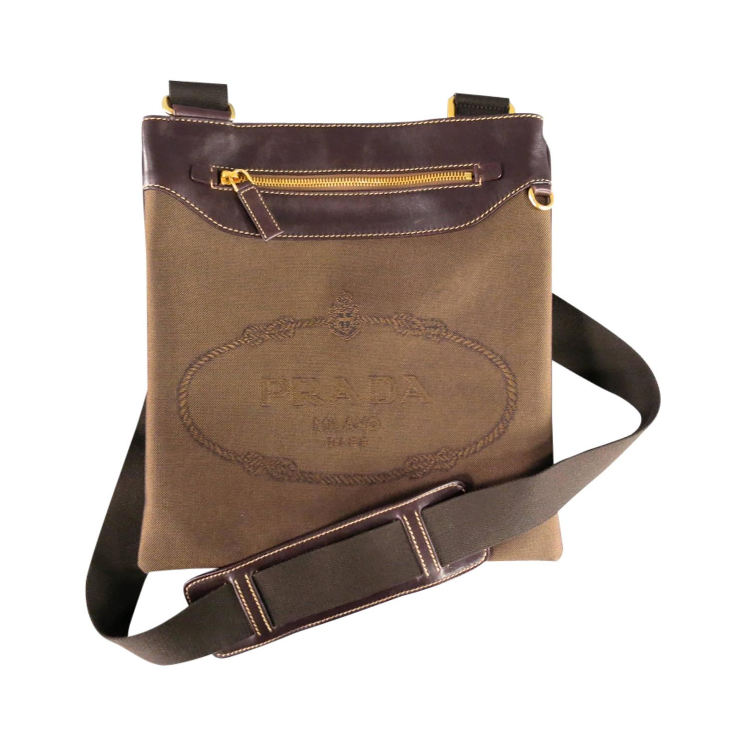 Prada Brown Canvas And Leather Logo Crossbody Bag At 1stdibs