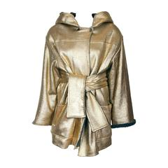 Gianfranco Ferre Oversized Gold Metallic Hooded Jacket w/Lambswool Interior