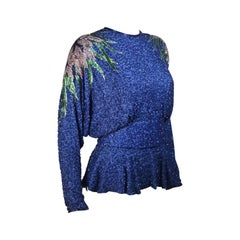 STEPHEN YEARIK Beaded Blouse with Open Back and Floral Motif Size 4-6