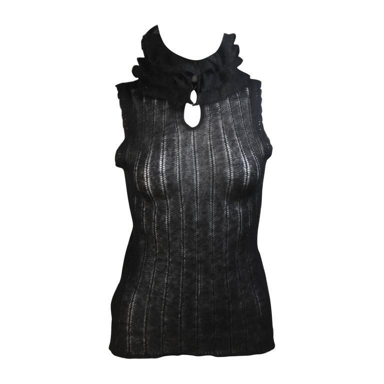 CHANEL Black Mohair Blend Sleeveless Ruffled Turtleneck Size 42
