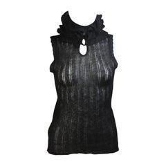 CHANEL Black Mohair Blend Sleeveless Ruffled Turtleneck Size 42