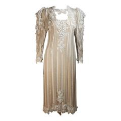 APROPOS 1980's Ivory Beaded Gown with Shoulder Accents Size 6-8