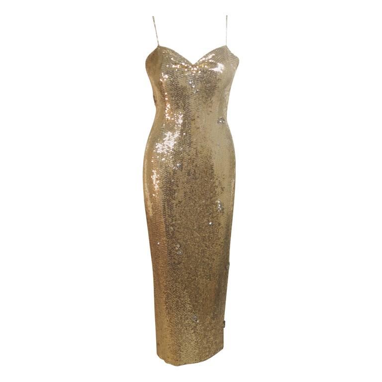 CUSTOM COUTURE Gold Sequin Gown with Rhinestone Applique & Straps Size 4