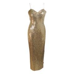 ELIZABETH MASON COUTURE Gold Sequin Gown, Rhinestone Applique & Straps Size 4