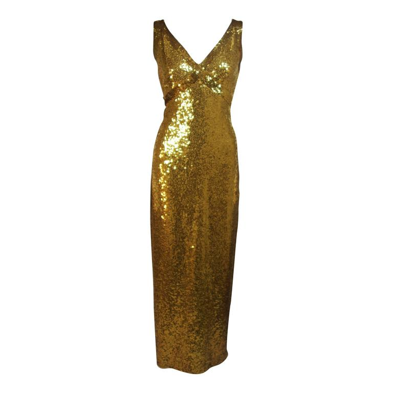 IRENE SARGENT Gold Sequin Gown with Empire Bust Size 6-8 1