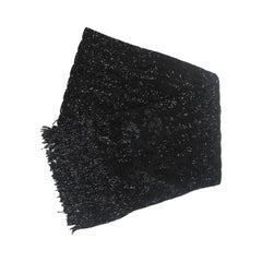 RALPH LAUREN Black Silk Fully Beaded Fringed Scarf with Purple Storage Box