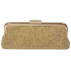 ELIZABETH MASON COUTURE Gold Rhinestone Clutch with Optional Strap