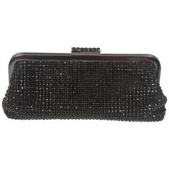 ELIZABETH MASON COUTURE Black Bejeweled Rhinestone Evening Clutch