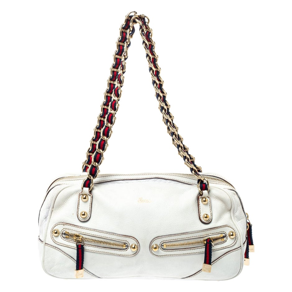 Gucci Off White Leather Capri Bowler Bag