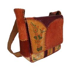 1970's Char Handpainted Whipstitched Leather Bohemian Hippie Shoulder Bag Purse