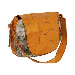 1970's Char Handpainted Whipstitched Leather Bohemian Large Messanger Bag Purse