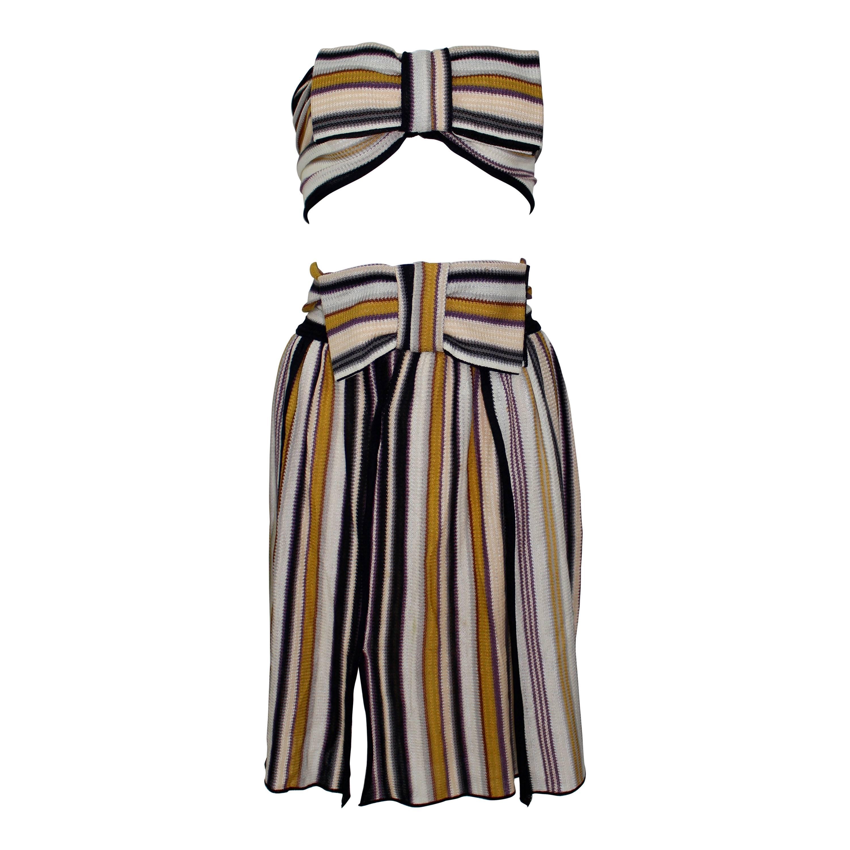 Missoni Striped Bow Bandeau Top Skirt Ensemble