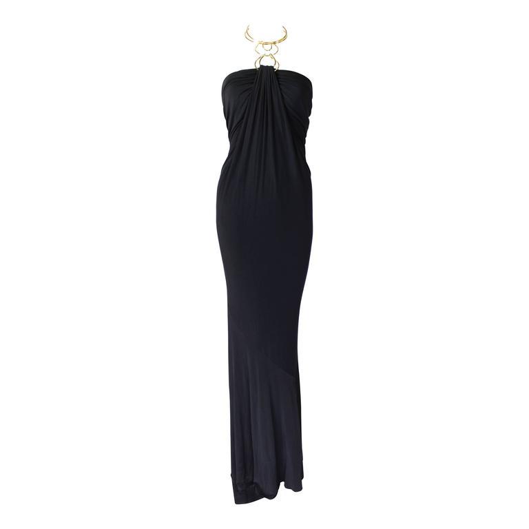 1990s Donna Karan Slinky Black Jersey Gown with Gold Choker Halter 1