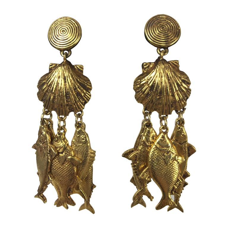 Gorgeous Yves Saint Laurent Fish Earrings.  1990's. 1