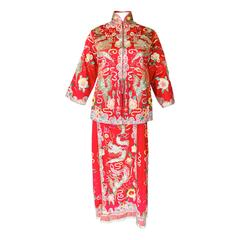 Mid-Century Red Silk Sequined Ensemble with Dragon Motif