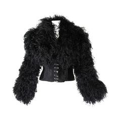 1990s Curled Ostrich Feather Cropped Jacket with Rhinestone Closure