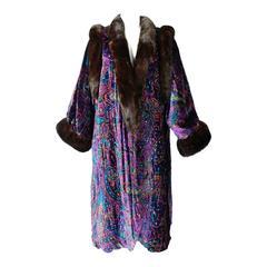 1980s Sable Trimmed Velvet Paisley Beaded Coat