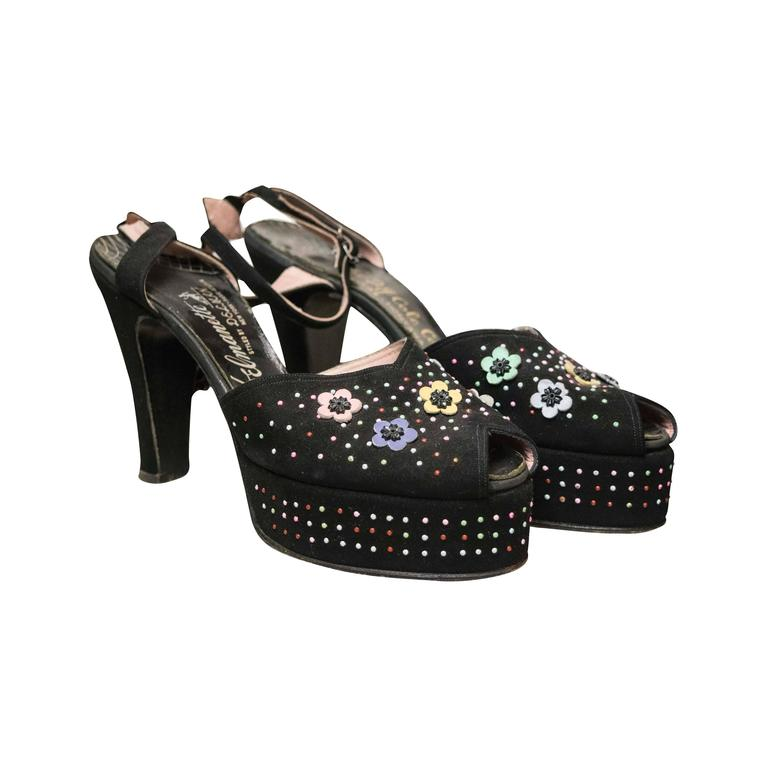 1940s Beaded Platform Shoes For Sale