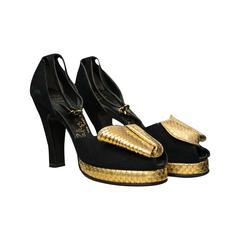 1940s Gold Snakeskin Platform Shoes
