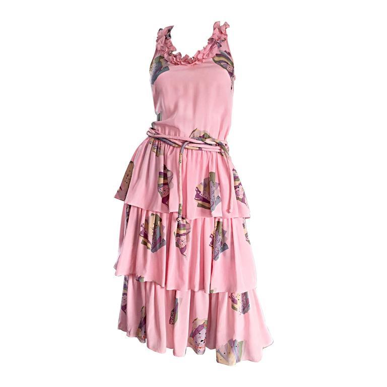 Vintage Mary McFadden Light Pink ' Fan ' Print Ruffle Tiered Silk Dress w/ Belt