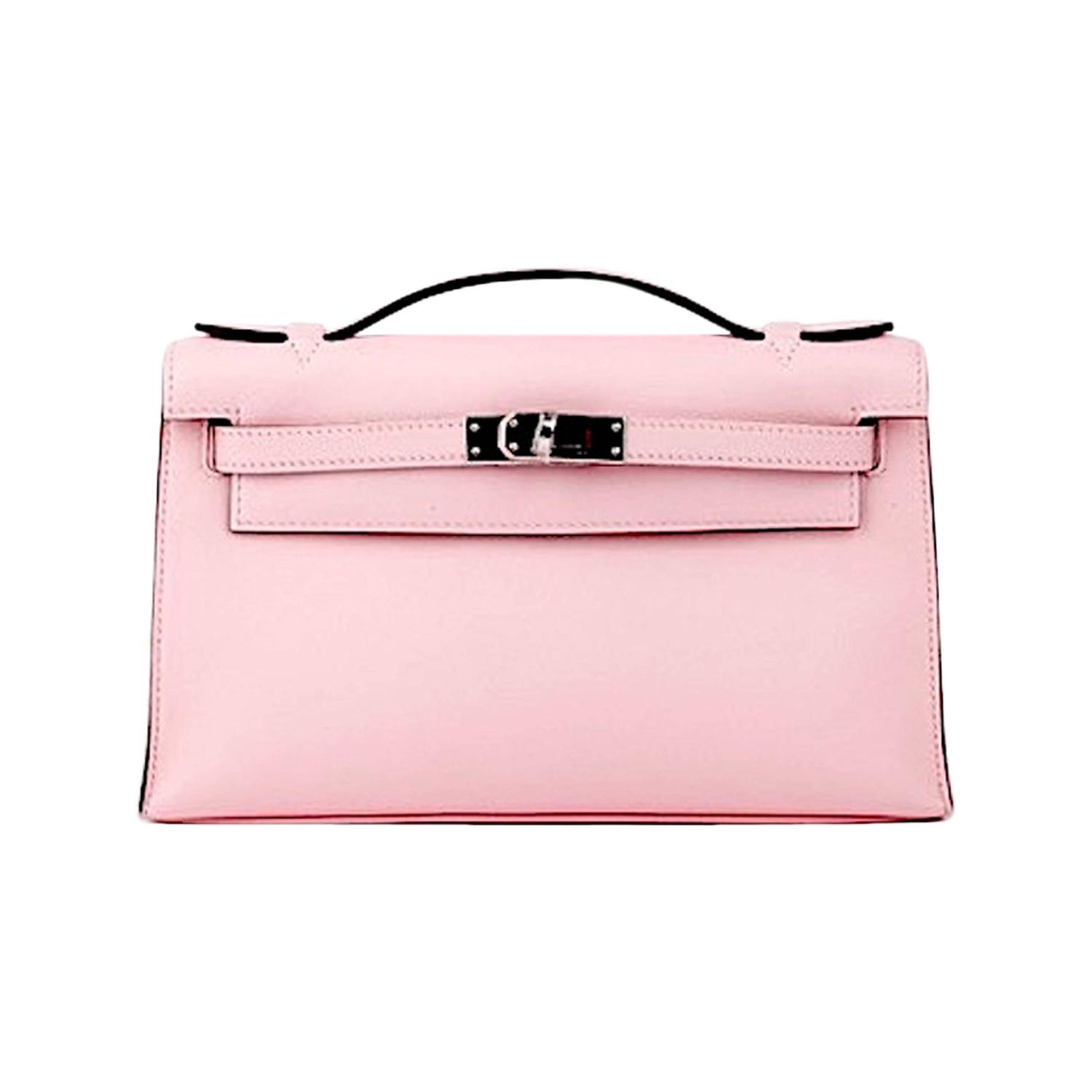 affordable replica handbags - HERMES KELLY POCHETTE ROSE SAKURA SWIFT CLUTCH JaneFinds at 1stdibs
