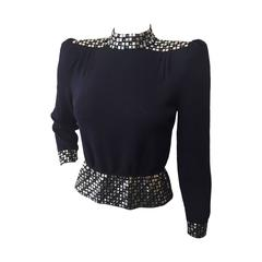 1970s St. John Evening Midnight Blue Rayon Knit Top with Silver Studs