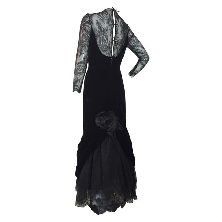 1980s Arnold Scaasi Black Velvet and Chantilly Lace Evening Gown w ...