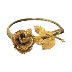 1970s Gold-Tone Stretch Belt w/ Large Flower Buckle